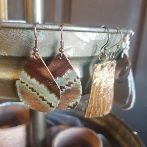 Jewelry - Hand made real leather earrings